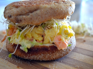 Scrambled Egg and Smoked Salmon Breakfast Sandwich