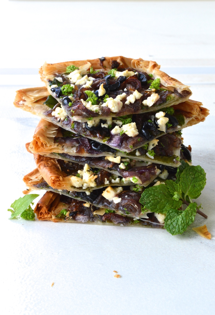 caramelized onion black olive and feta phyllo pizza sadie 39 s kitchen table. Black Bedroom Furniture Sets. Home Design Ideas