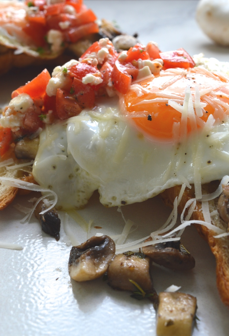 Open Faced Egg And Mushroom Croissant Sandwich With Tomato Feta Salsa