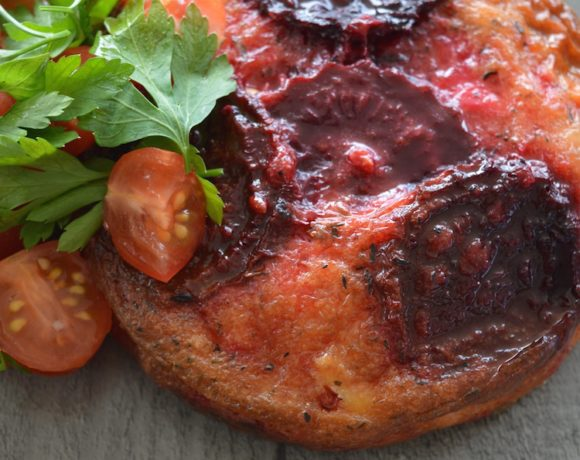 Roasted Beet Frittata With Parsley Tomato Salad