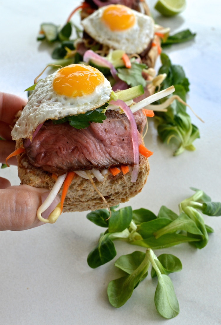 Open Faced Thai Style Steak Sandwich With Fried Quail Eggs
