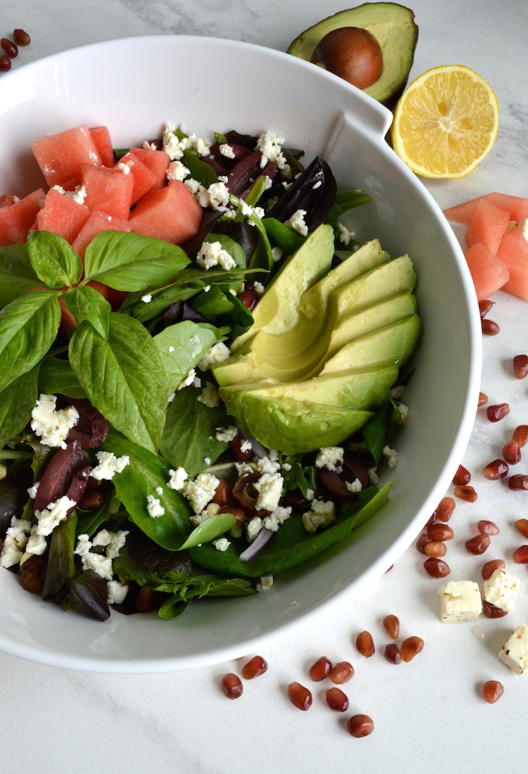 Summer Watermelon Salad With Pomegranate And Balsamic Vinaigrette