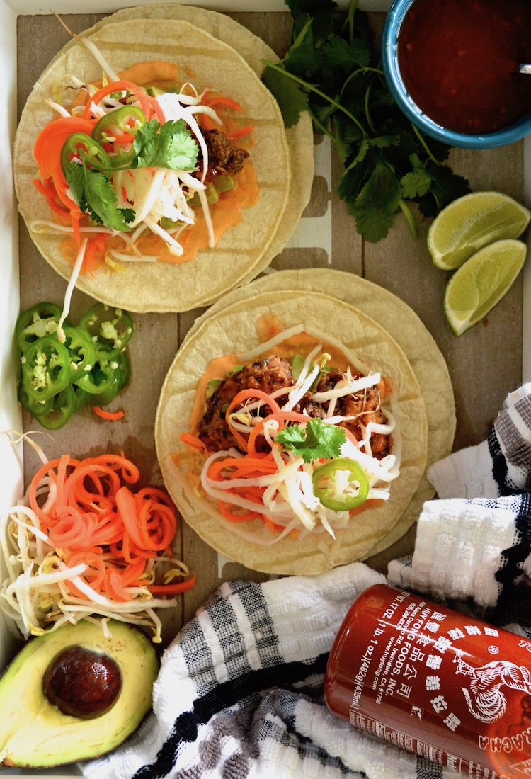 Banh Mi Style Fried Chicken Tacos